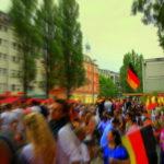 Partylaune auf der Fanmeile nach dem WM Sieg gegen Frankreich