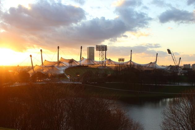 Olympiaparkt Abenddämmerung