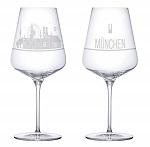 Weinglas 2er Set München Skyline